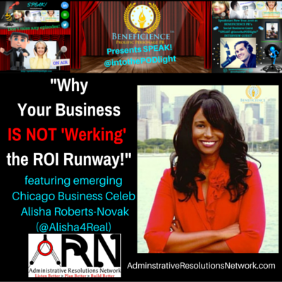 Alisha Roberts Novak - Alisha4Real- on Why Your Business Model IS NOT Werking The ROI Runway - SPEAK IntoThePODLight  Img By AR - Graphic by Tracey BondPublicist at Beneficience.com PR