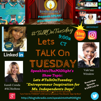 LETS #TalkOnTuesday about- -Entrepreneur Inspiration For Independents Days- BlogTalkRadio.comSpeakIntoThePodlight (2)